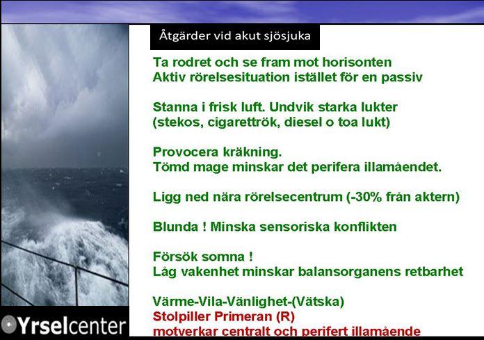 Åtgärder vid akut sjösjuka 2007