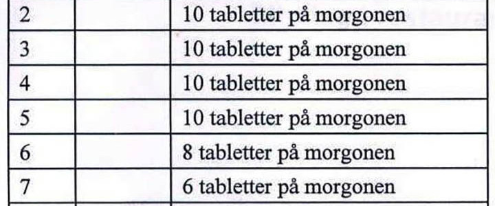 Behandlingschema kortisontabletter vid akut vestibularisneurit ÖNH kliniken Lund