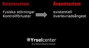 Kontrolförluster i balanssystemet kan ger sekundära ångestsymtom. Balans- och Ångestsystemen är ihopkopplade och påverkar varann Yrselcenter